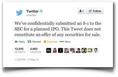 El anuncio del IPO de Twitter como prueba de concepto