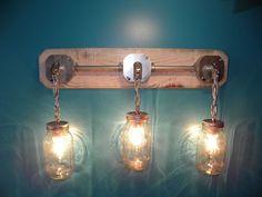 Mason Jar Light Rustic Reclaimed Wood Industrial Mason Jar 3 Light Vanity Light Wall Sconce