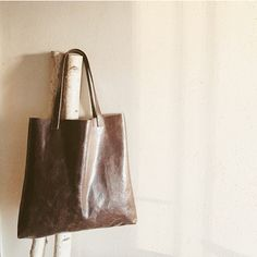Dark Chocolate Leather Tote by TreeFairfax on Etsy