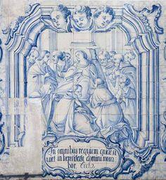 Dormição da Virgem. Painel de composição figurativa do século XVIII, atribuído a Manuel Oliveira Bernardes.
