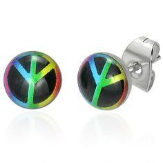 Multi-Coloured Peace Sign Stud Earrings