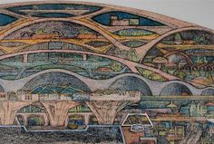 Paolo Soleri's first drawing of Arcosanti