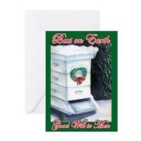 CafePress Merry Christmas Bee Hive Greeting Card