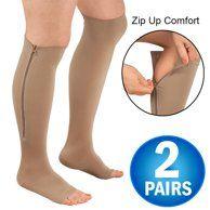Zipper Pressure Compression Socks Support Stockings Leg - Open Toe Knee High - 20-30mmHg - Helps Circulation, Varicose Veins, Swollen Legs, Zipper - Nude Large Size - Walmart.com - Walmart.com Compression Hose, Compression Stockings, Support Stockings, Support Socks, Aching Legs, Swollen Ankles, Toe Socks, Stockings Legs, Health