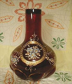"Victorian Enameled 10"" Blown Vase"
