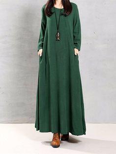Женщины Урожай хлопка Туники Багги с длинным рукавом платья макси