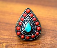 Afghan Kuchi Turkmen Tribal Ethnic Antique Jewelry, Onyx Marble Stone Jewelry Items: Nepali Tibetan Ring,Coral Turquoise Stone,Ethnic R...