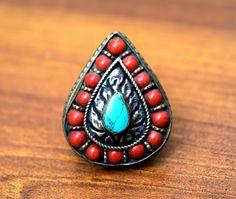 Afghan Kuchi Turkmen Tribal Ethnic Antique Jewelry, Onyx Marble Stone Jewelry Items: Nepali Tibetan Ring,Coral Turquoise Stone,Ethnic R...