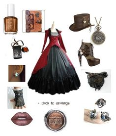 """Steampunk princess"" by pinkcupcake-2 on Polyvore featuring Overland Sheepskin Co., HADES, Essie, Lime Crime and Max Factor"