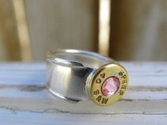 Bullet spoon ring with pink crystal  size by WhisperingMetalworks