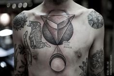 ©m-x-m chest tattoo black dot geo circle forms #ink #Tattoo #Art