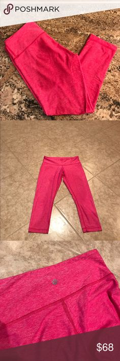 Wunder Under Crop pant by Lululemon Wunder Under Crop pant by Lululemon. Color is pink. Gently worn and in excellent condition. Slight pilling is not noticeable. Size tag removed. lululemon athletica Pants Ankle & Cropped