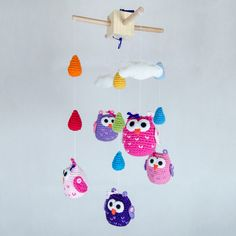 New Colorful Owls, Clouds and Rain Drops Crochet Mobile - Baby Mobile - Nursery Mobile - Crochet Mobile - Nursery Decor - Custom Colors. $90.00, via Etsy.
