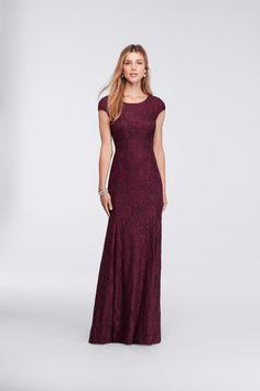 Long Sheath Cap-Sleeve Lace Burgundy Mother Of The Bride Dress at David's Bridal