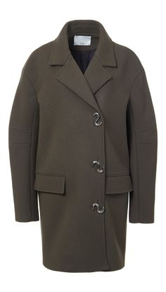 THIS IS F'N AMAZING. [This season's distinctive S-shaped hardware accentuates the front closures of this felted wool coat. The bonded material provides structure to this mid-length, utilitarian style with a generous, rounded silhouette. Double front pockets. Fully lined. 60% Virgin Wool, 25% Polyester, 15% Polyamide. Professional Dry Clean Only.Style Number: F17BF95190Available in: Navy, Loden Green]