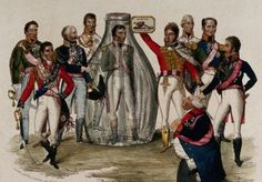European royals and martial heroes marvel at the sight of the defeated Napoleon Bonaparte standing in a glass bottle in their midst. Coloured etching, 1815. The Wellcome Library, London