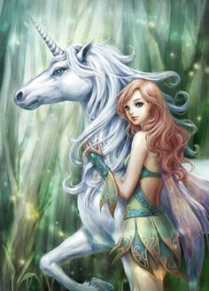 lovely lady and a proud unicorn