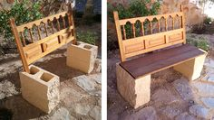 Garden Bench From Repurposed Headboard & Blocks is part of Cement garden Bench - This is a simple idea with a headboard, four blocks and a table you'll have a bench Two blocks on … Concrete Garden Bench, Cement Garden, Cement Patio, Garden Benches, Cement Bench, Balcony Garden, Cinder Block Furniture, Cinder Block Bench, Cinder Blocks