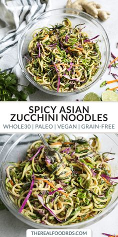 Spicy Asian Zucchini Noodles zucchini noodles paleo dinner recipe vegan recipe grain-free zucchini noodles healthy dinner recipe easy dinner recipe The Real Food Dietitians Zucchini Noodle Recipes, Healthy Zucchini, Zuchinni Noodle Salad, Asian Zucchini Recipe, Large Zucchini Recipes, Zuchinni Noodles, Zucchini Salad, Broccoli Salad, Recipes
