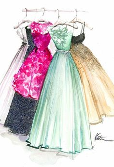illustration of hand made designer dresses G.L.A.M fashion designer to make you that off the peg Gown