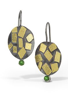 Oval Confetti Earrings with Chrome Diopside by Lori Gottlieb (Gold, Silver & Stone Earrings) | Artful Home