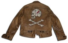 Ralph Lauren RRL Cowhide Leather Jacket Limited Edition 5 of 12 Painted Leather Jacket, Vintage Leather Jacket, Biker Leather, Leather Men, Cowhide Leather, Leather Fashion, Mens Fashion, London Fashion, Custom Leather Jackets