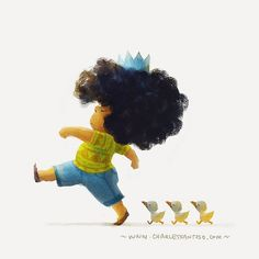 """'Leader of the pack'. I found this in my HD and realised that I haven't post this yet. I forget why.. anyhow, here you go!  #kid #duck #illustration…"""