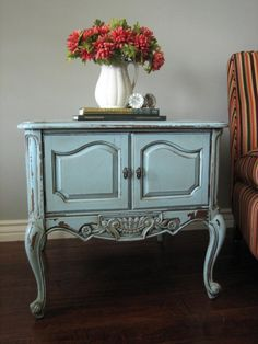 European Paint Finishes: Chippy Blue Grey End Tables ~