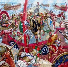 415 a,C., la destrucción de la flota ateniense durante la desastrosa expedición a Sicilia, cortesía de G. Rava. Más en www.elgrancapitan.org/foro