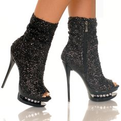 Sequin Ankle Bootie, Open Toe Silver, Gold, Black - Highest Heel #bootieshoe #glittershoe