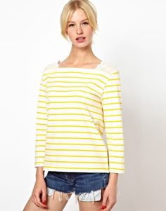 Boutique by Jaeger Bretton Top with Broderie Shoulders