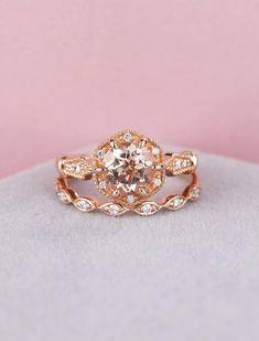 Morganite engagement ring set vintage Art Deco engagement ring