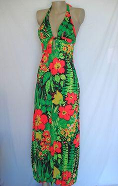 Vintage 70s Bright  Neon Floral Beach Party Halter Maxi Dress Bathing Suit S Hawaiian XS