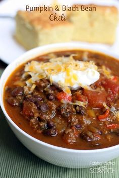 Pumpkin and Black Bean Chili:  Pumpkin provides a creamy texture and rich flavor that makes this chili dish stand out.