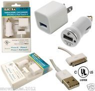 USB HOME AND CAR CHARGER  1000ma - UL LISTED  iPHONE 4 / iPOD TOUCH 4