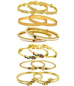 Jewels Galaxy Combo Of Designer Victoria Bangles, Pearls Bangles, Trendy Gold Plated and Coinage Bangles – Pack Of 12