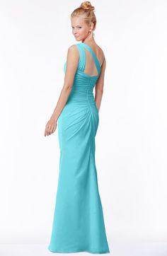 Turquoise Simple A-line Sleeveless Chiffon Floor Length Bridesmaid Dresses  Turquoise Bridesmaid Dresses a992915517e2
