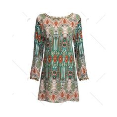 Green Ethnic Style Round Collar Tribal Print Tassel Dress ($7.90) via Polyvore featuring dresses, tribal dress, fringe tassel dress, tassel dress, tassle dress and tribal pattern dress