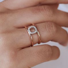 Square double band ring Stacking Rings, 40 Years, Natural Diamonds, Band Rings, White Gold, Rose Gold, Beauty, Jewelry, Jewlery