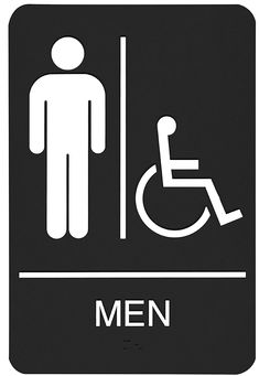 Handicap Men Womens ADA Restroom Sign ADA Braille Signs - Handicap bathroom sign