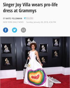 """You go @joyvilla ! Love her creativity and boldness! Pro-life princess! ❤️ """"I'm a pro-life woman. This year I chose to make a statement on the red carpet like I always do,"""" Villa told Fox News. """"I'm all about life."""" The 26-year-old singer said the dress was inspired by the baby she gave up for adoption when she was 21."""""""
