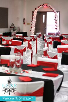 Red, Black and White Wedding Ceremony and Backdrop Decor | Tillsonburg Ontario | LUXE Weddings and Events