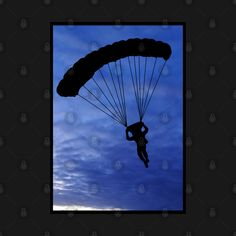 Check out this awesome 'Parachuter+Silhouette+in+Beautiful+Blue+Sky+with+a+Black+Border' design on @TeePublic! Border Design, Blue Butterfly, Silhouette, Sky, Awesome, Check, Stuff To Buy, Beautiful, Heaven