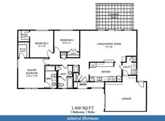 Naval Complex San Diego – Admiral Hartman Neighborhood: 3 bedroom 2 bath home floor plan (1468 SQ FT).