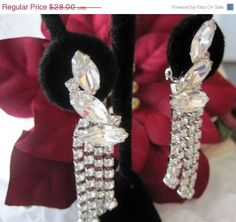 Vintage Rhinestone Ear Climber  Earrings by VintagObsessions, $25.20