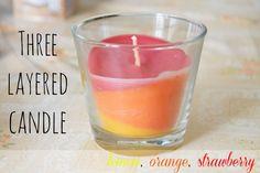 DIY three layered candle (lemon, orange, strawberry)
