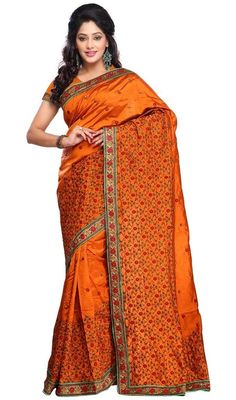 Give gorgeous look draped in this orange color shade embroidered silk sari. The wonderful lace and resham work in saree is awe-inspiring.  #traditionalsarees #trendydesignsaris #traditionalsilksari