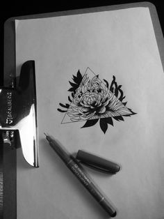 chrysanthemum flower tattoo///would get the flower in purple with Roman numerals under triangle