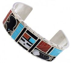 Zuni Sun Bear And Feather Multicolor Inlay Jewelry Cuff Bracelet PX25730 http://www.silvertribe.com