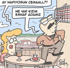 - Ay napıyorsun Cemaall?! + Ne var kızım esnaf adamız #karikatür #mizah #matrak #komik #espri #serefefendiler